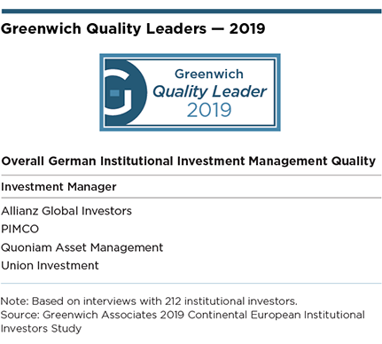 Greenwich Quality Leaders 2019 - Overall German Institutional Investment Management Quality