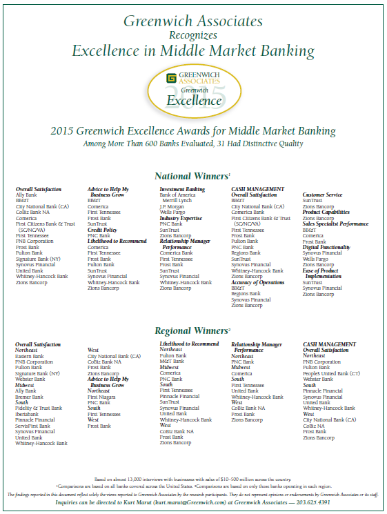 2015 Greenwich Excellence Awards in U S  Middle Market Banking